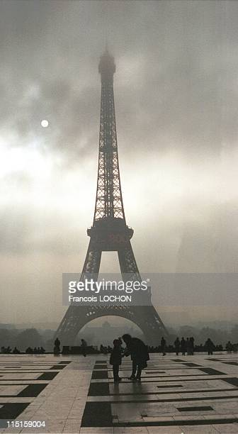 Eiffel tower waiting for the new millennium 2000 in Paris France on December 15 1999