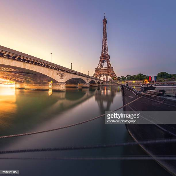 Eiffel tower with reflection at Seine river