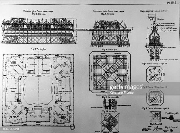 Eiffel Tower's plan in 1889 in Paris France