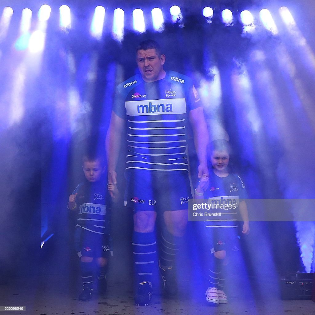 Eifion Lewis-Roberts of Sale Sharks leads his team out ahead of the Aviva Premiership match between Sale Sharks and Gloucester Rugby at the AJ Bell Stadium on April 29, 2016 in Salford, England.