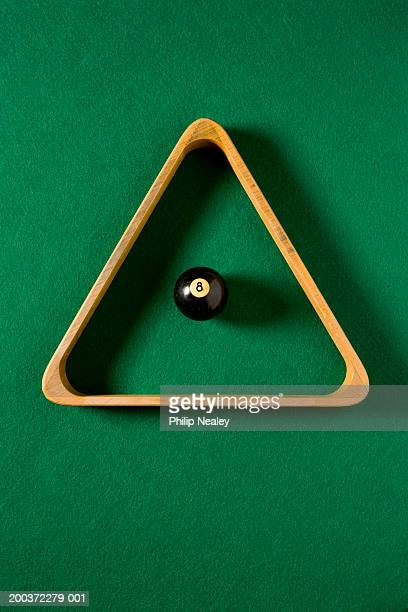 Eight ball at center of pool rack, overhead view