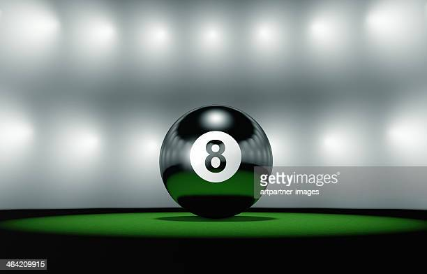 Eight ball  closeup on table