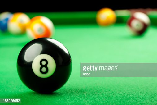 Eight Ball on Pool Table : Stock Photo