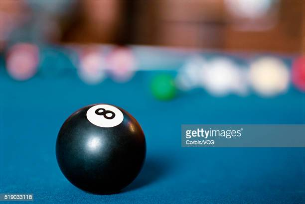 Eight ball on pool table