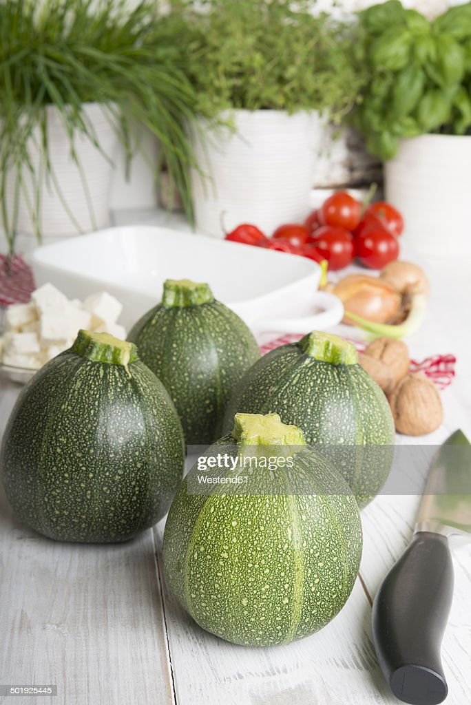 Eight ball squashes and vegetables on table, Low Carb