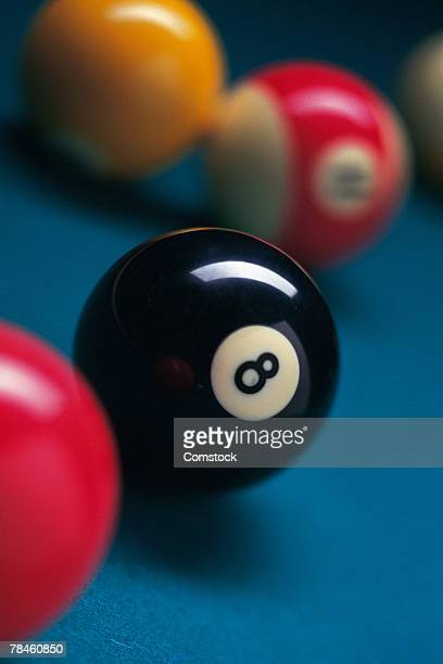 Eight ball with others on pool table