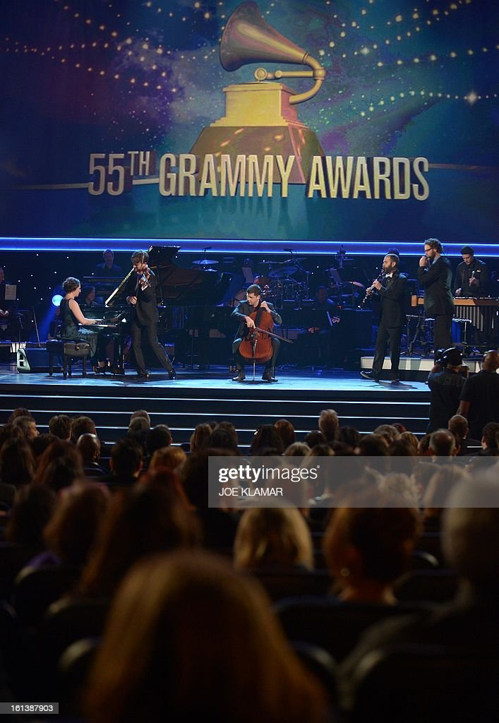 Eight Blackbird perform at the stage of the Staples Center during the pre-telecast of the 55th Grammy Awards in Los Angeles, California, February 10, 2013. AFP PHOTO/Joe KLAMAR