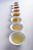 Eight cups of different variations of traditional Chinese tea.