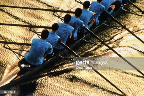 Eight man crew practicing, dawn, elevated view : Stock Photo