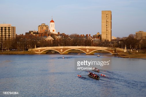 Eight man sculls on the Charles River, late afternoon.