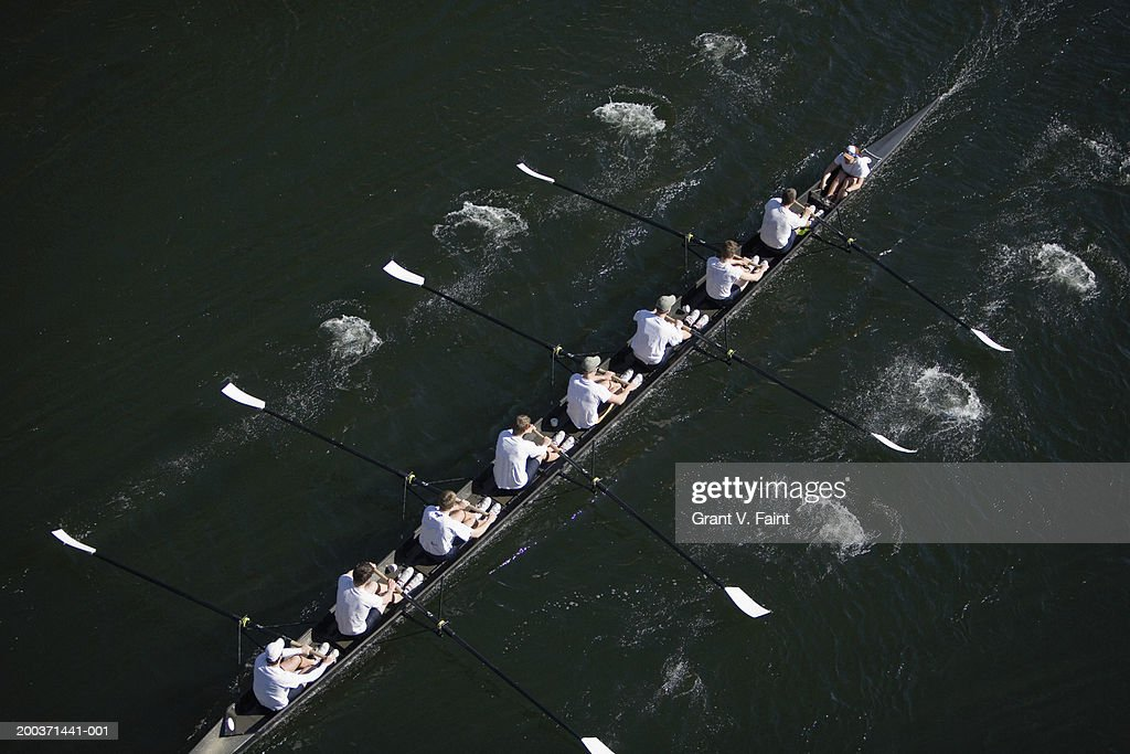 Eight men sweep rowing race, elevated view : Stock Photo