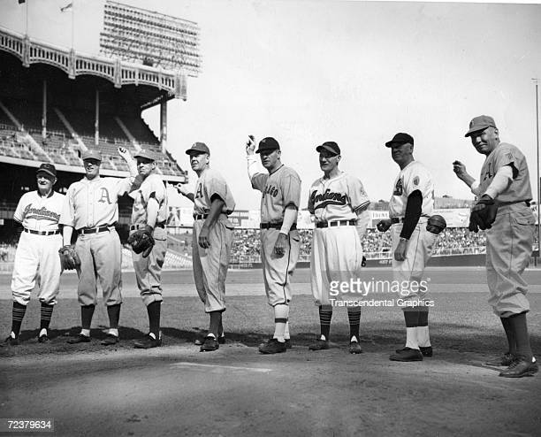 NEW YORK SEPTEMBER 28 1947 Eight Old Time Pitching stars pose together in Yankee Stadium before the start of the last game of the 1947 season in New...