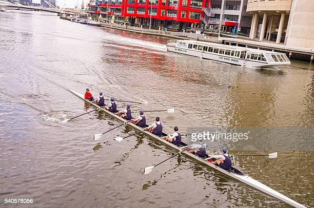 Eight Person Rowing Team on the Yarra River Melbourne Australia
