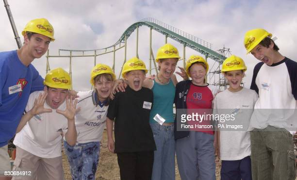 Eight teenage winners of a competition to sit on GForce an advisory panel to Thorpe Park theme park stand at the site of the world's first ten looper...