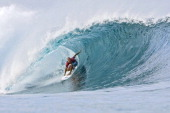Eight times reigning ASP world champion US Kelly Slater competes to win the round two at the Pro Pipeline Masters part of the Men's Association of...