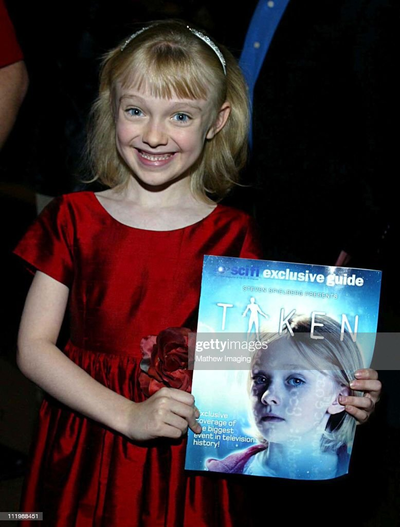 Eight year-old Dakota Fanning who is currently filming Dr. Seuss's Cat In the Hat has a major role in Steven Spielbergs Taken. The 20 hour mini-series premieres December 2, 2002 on the SCI FI Channel.