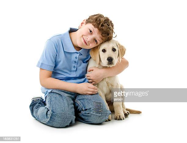eight years old boy wit his dog
