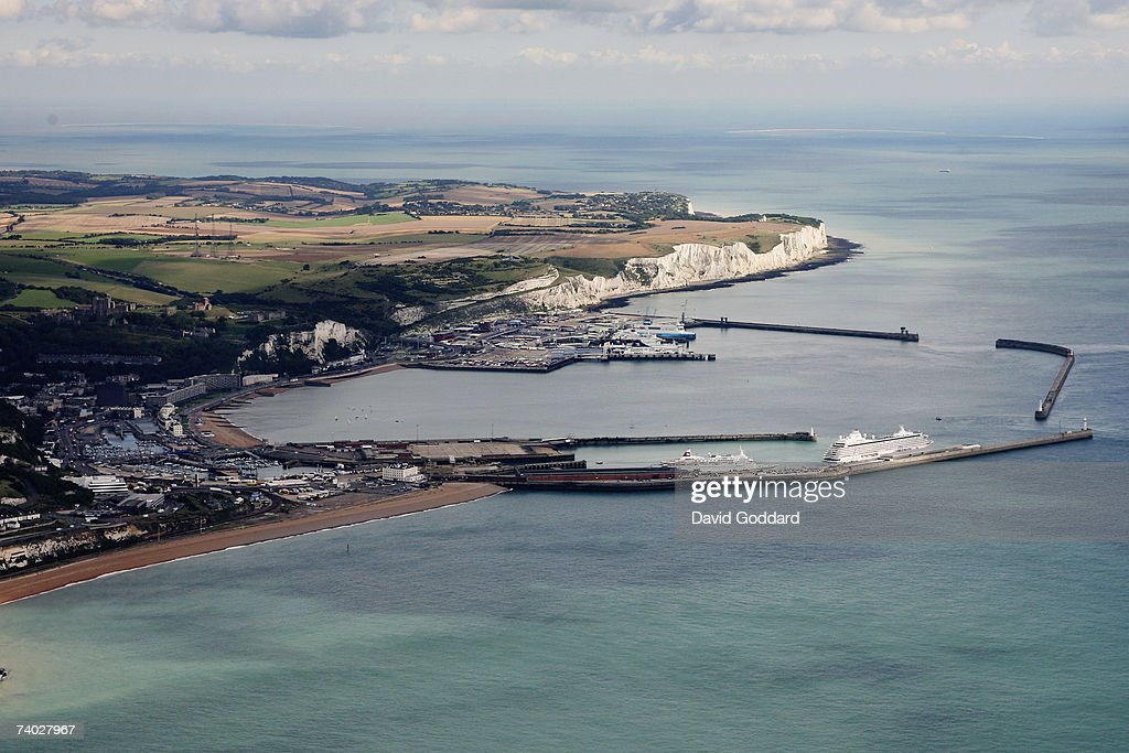 Eighteen miles from the French coastline lies the english port of Dover in this aerial photo taken on 9th September 2006