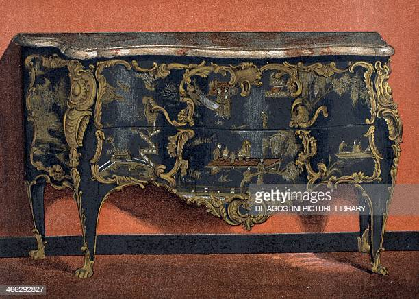 Eighteenth century chest of drawers in Chinese lacquer and gilt bronze illustration from the Dictionnaire de l'ameublement et de la decoration XIIIth...