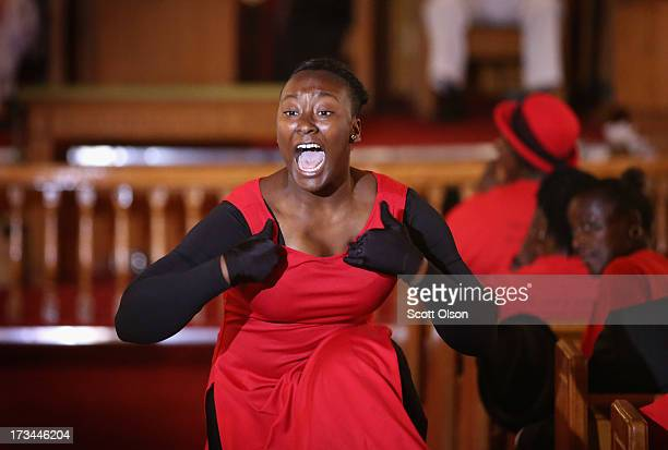Eighteenyearold Kenya Moore performs a dance tribute to Trayvon Martin at Allen Chapel AME church in the historic black neighborhood of Goldsboro on...