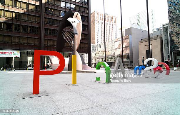 Eightfoot tall letters spelling Picasso were installed to promote the 'Picasso and Chicago' exhibit at the Art Institute of Chicago at Pablo...