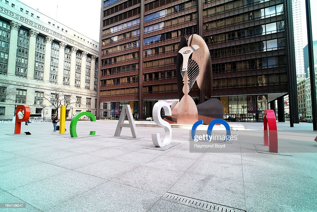 Eight-foot tall letters spelling Picasso, were installed to promote the 'Picasso and Chicago' exhibit at the Art Institute of Chicago, at Pablo Picasso's 'Untitled' sculpture at Daley Plaza in Chicago, Illinois on MARCH 23, 2013.