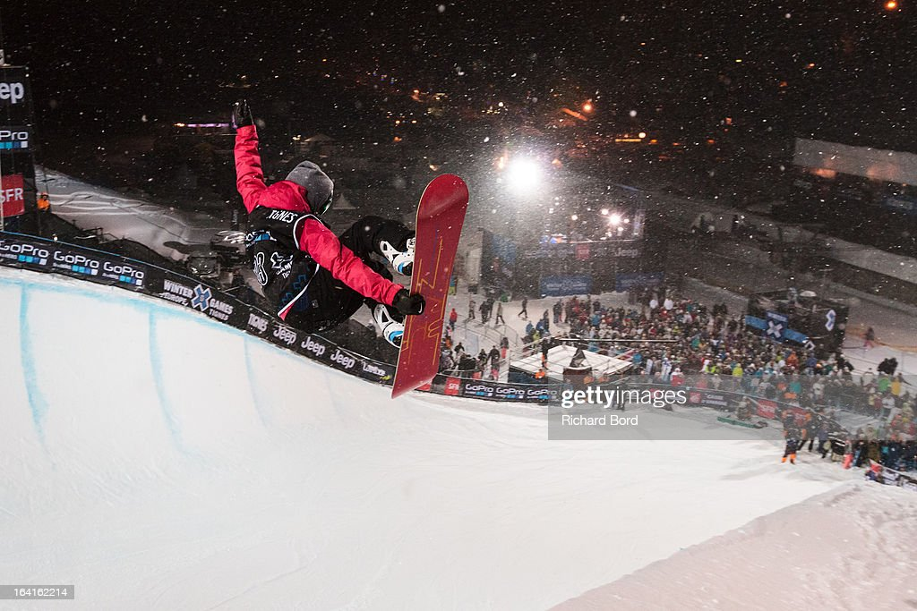 Eighth place Ellery Hollinsworth performs during the Women's Snowboard Superpipe final during day three of Winter X Games Europe 2013 on March 20, 2013 in Tignes, France.