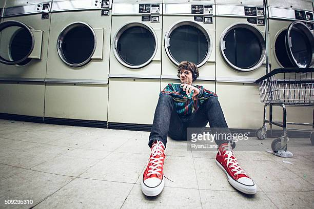 Eighties Man With Headphones at Laundromat