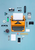 top view eighties typewriter office items cloud
