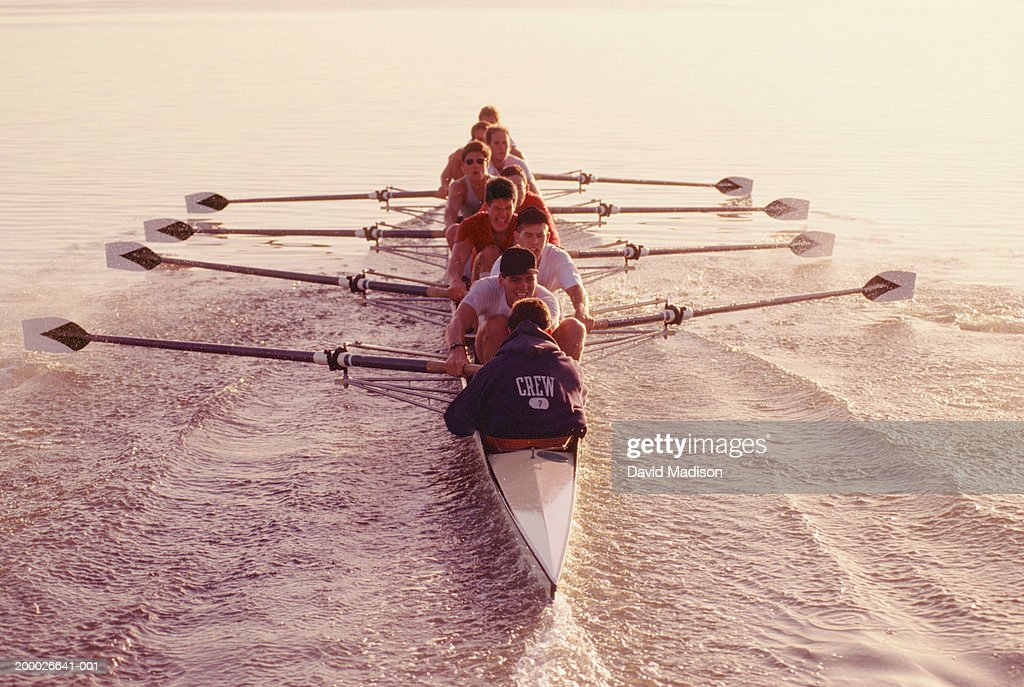 Eight-man crew team rowing, elevated view : Stock Photo