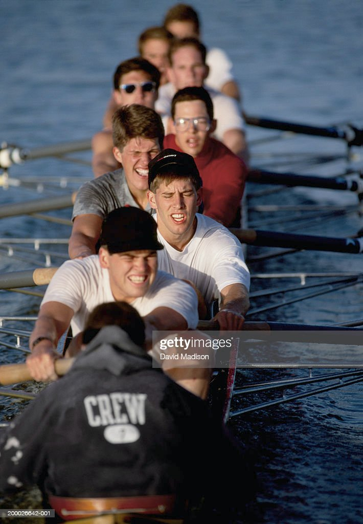 Eight-man crew team rowing, elevated view (selective focus) : Stock Photo