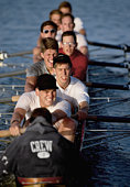 Eight-man crew team rowing, elevated view (selective focus)