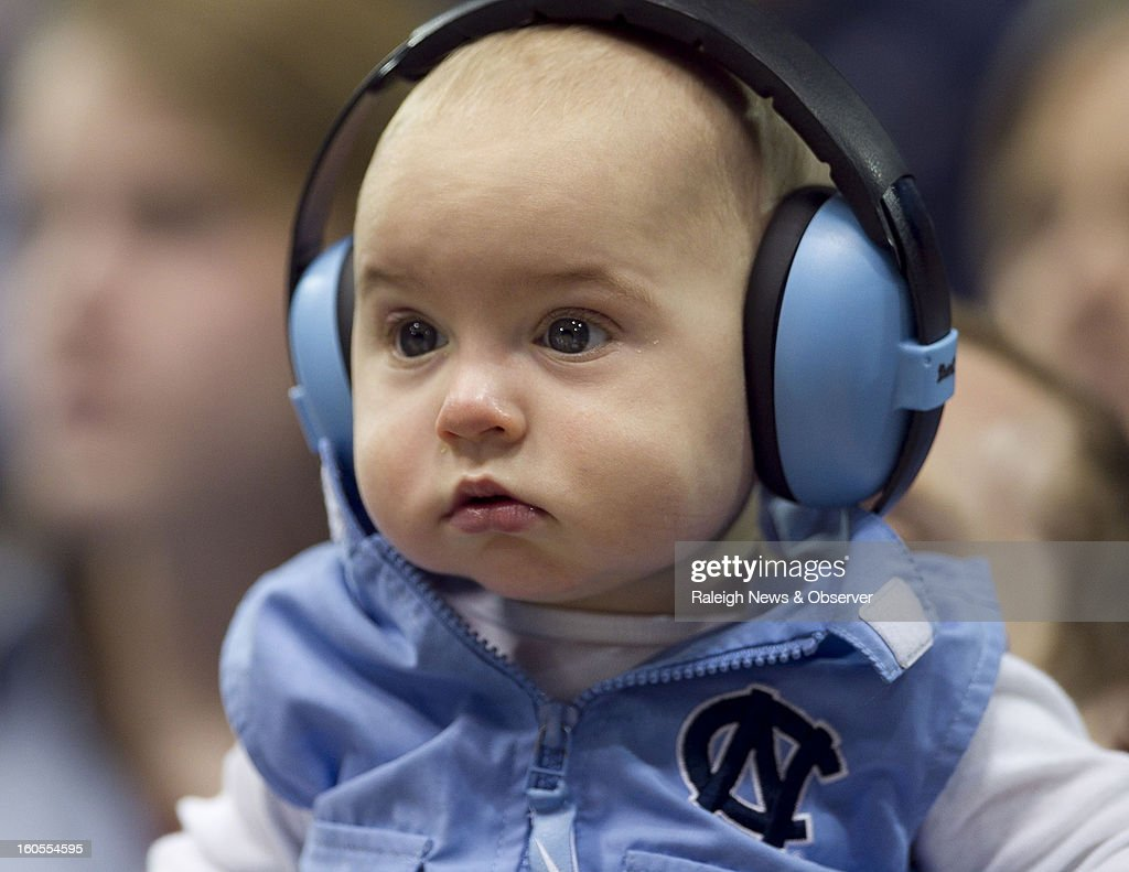 Eight-month old Tyler Chanon watches North Carolina defeat Virginia Tech, 72-60, in overtime at the Smith Center in Chapel Hill, North Carolina, Saturday, February 2, 2013.