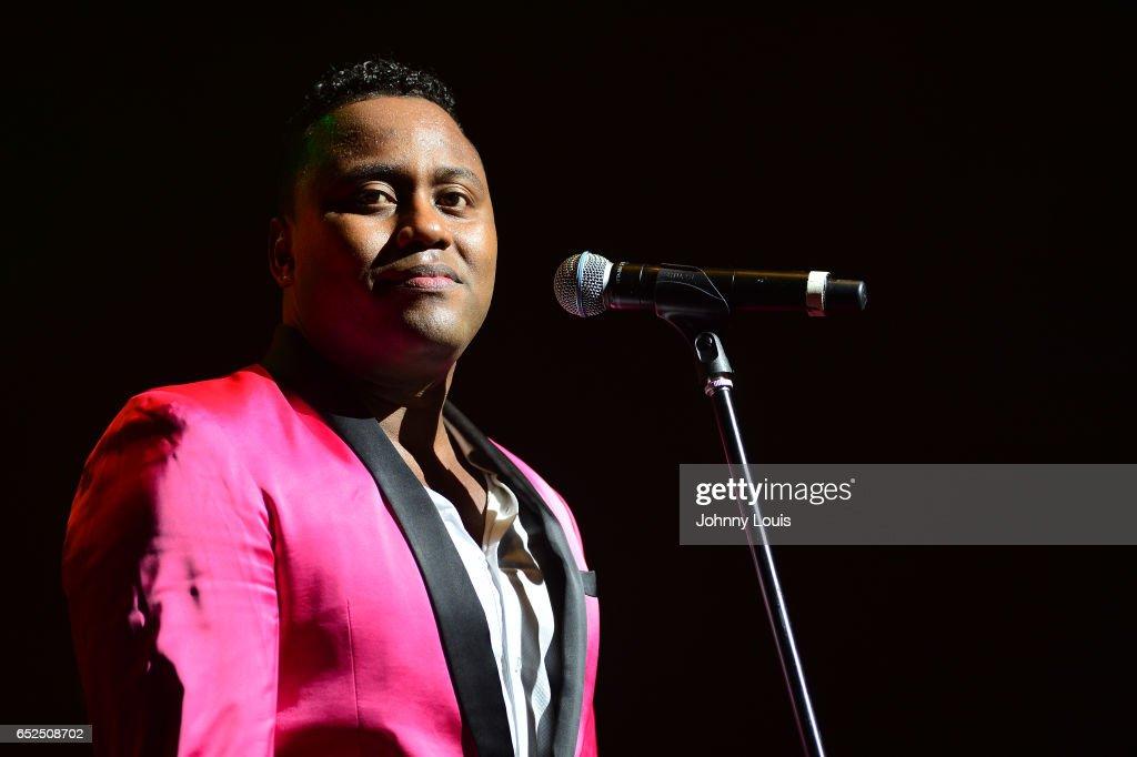 Eignar Renteria Serna of Orquesta Guayacan performs onstage during Viva La Salsa concert at James L. Knight Center on March 11, 2017 in Miami, Florida.