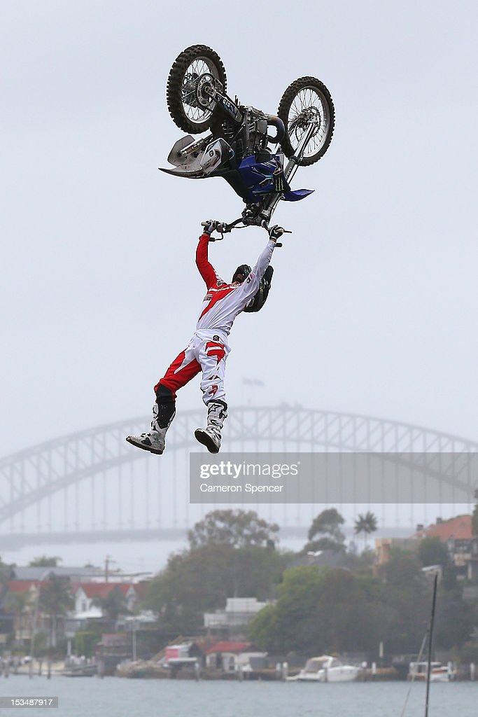 Eigo Sato of Japan competes in the Red Bull X-Fighters Moto Cross at Cockatoo Island on October 6, 2012 in Sydney, Australia.