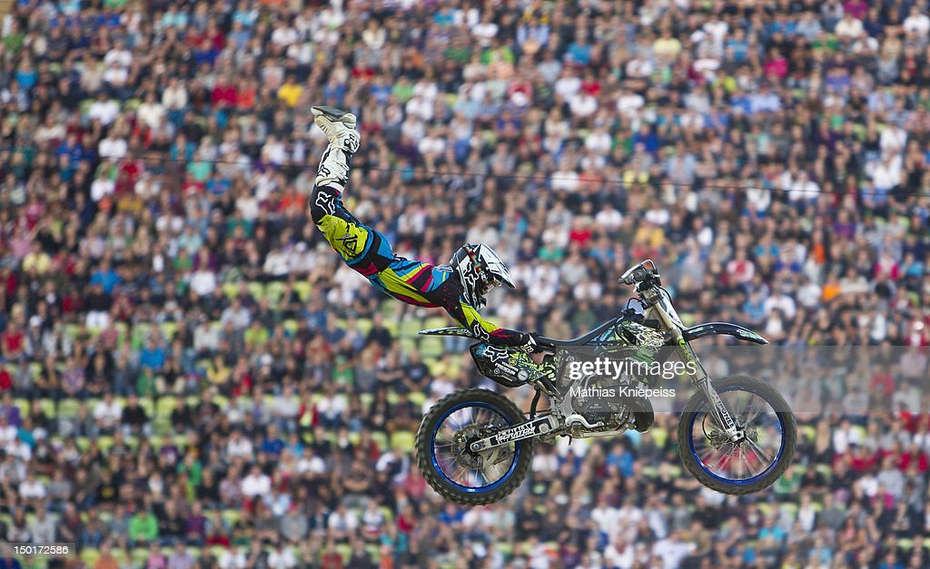Eigo Sato of Japan in action during the Red Bull X-Fighters World Tour at Olympia stadium on August 11, 2012 in Munich, Germany.