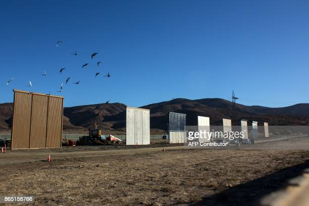 Eigth prototypes of US President Donald Trump's USMexico border wall being built near San Diego in the US are seen from across the border from...