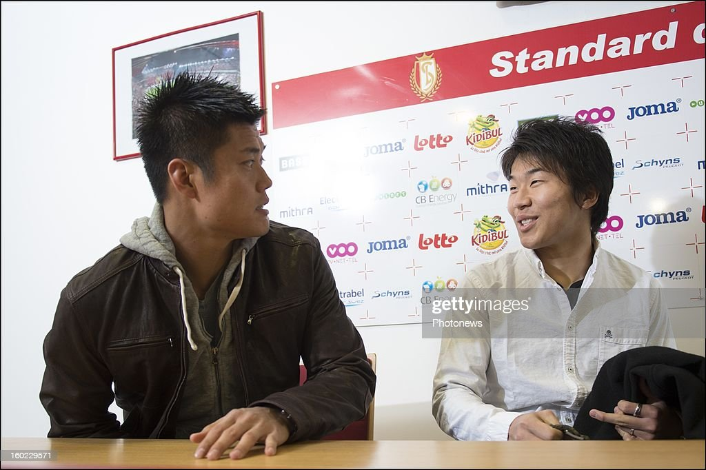 Eiji Kawashima and Kensuke Nagai (R) appear during an official presentation as new player of Standard Liege on January 28, 2013 in Liege, Belgium.