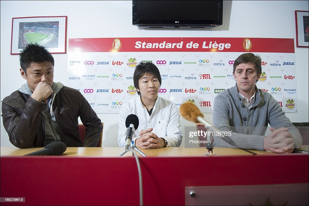 Eiji Kawashima, JF de Sart and Kensuke Nagai appears during an official presentation as new player of Standard Liege on January 28, 2013 in Liege, Belgium.