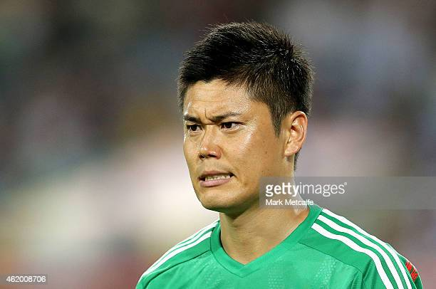 Eiji Kawashima of Japan looks on during the 2015 Asian Cup Quarter Final match between Japan and the United Arab Emirates at ANZ Stadium on January...