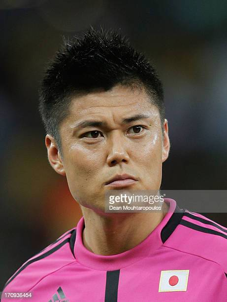 Eiji Kawashima of Japan looks on prior to the FIFA Confederations Cup Brazil 2013 Group A match between Italy and Japan at Arena Pernambuco on June...