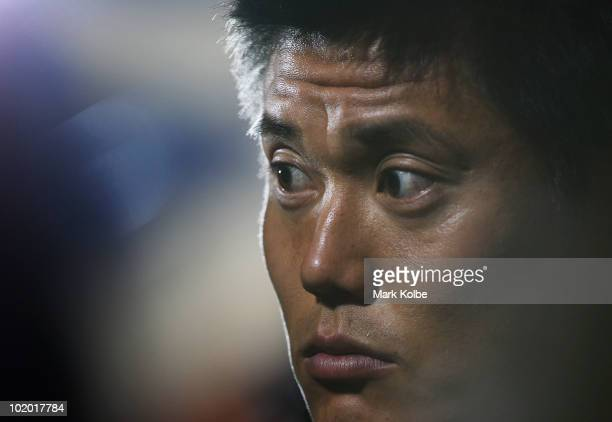 Eiji Kawashima speaks to the media after a Japan training session at the Central University of Technology Free State ground on June 12 2010 in...