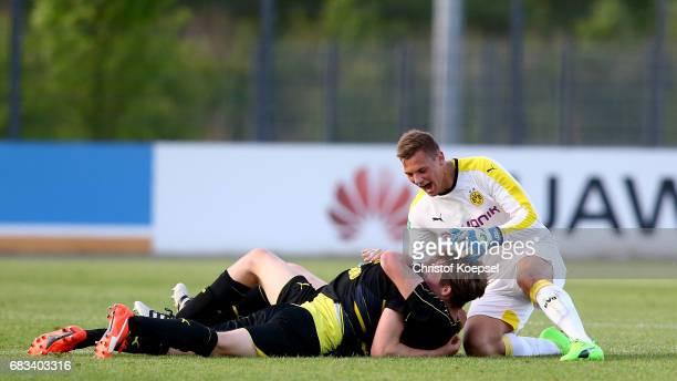 Eike Bansen of Dortmund celebrates with his team mates after winning the U19 German Championship Semi Final second leg match between Borussia...