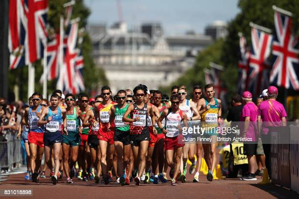 Eiki Takahashi of Japan and others compete in the Men's 20 Kilometres Race Walk final during day ten of the 16th IAAF World Athletics Championships...