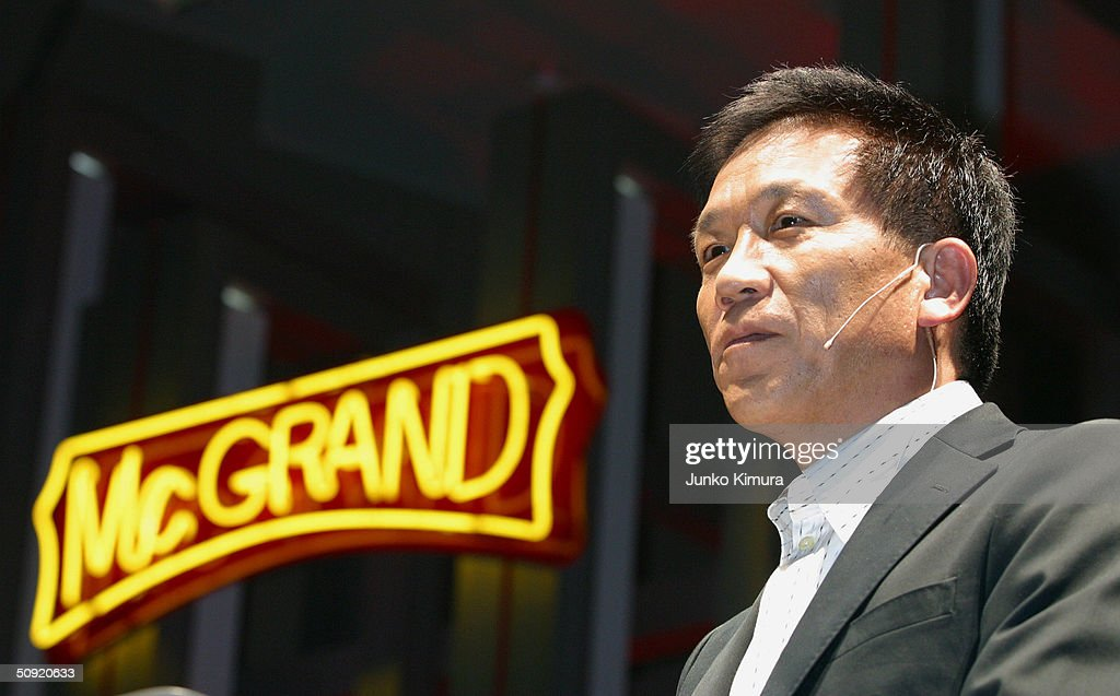 Eikoh Harada, Vice Chairman, President and CEO of McDonald's Japan, speaks during a press conference announcing the McGrand hamburger June 3, 2004 in Tokyo, Japan. McDonald's will launch two versions of the burger that uses larger beef patties on June 16 in Japan.
