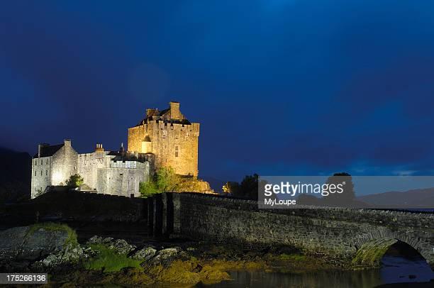 Eilean Donan castle and Loch Duich at Dusk Highlands Region Scotland UK