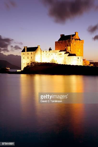 Eilean Donan Castle at dusk, Dornie, Scotland