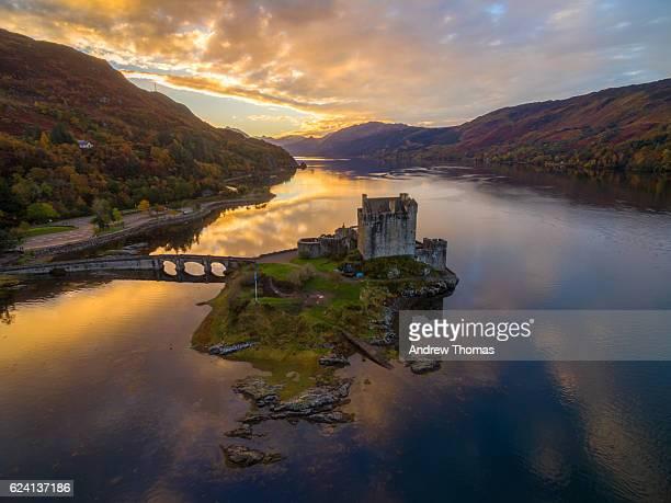 Eilean donan castle sunrise from a drone