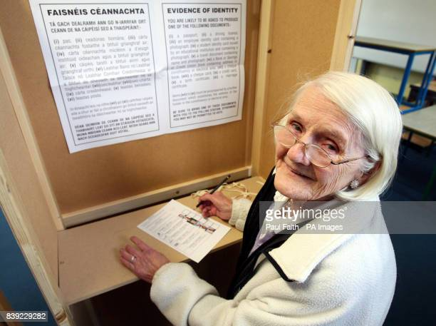 Eileen Ayton in a polling booth as today's byelection is underway