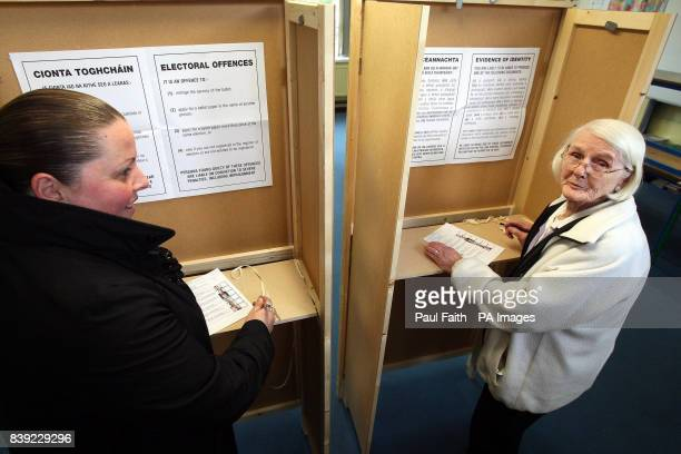 Eileen Ayton with Angela Rodgers in a polling booth as today's byelection in Donegal is underway